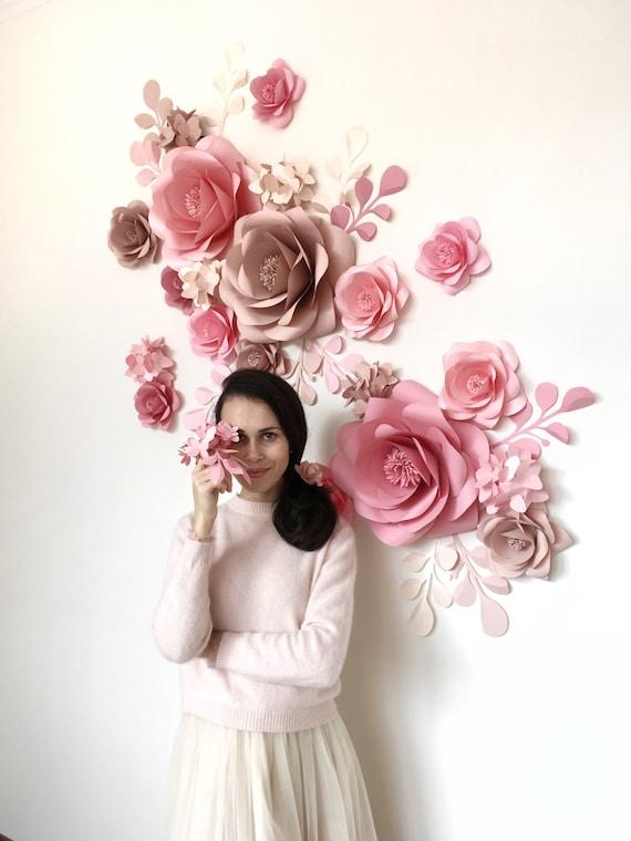 Paper Flower Wall Backdrop Wedding