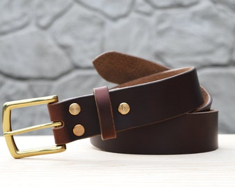 "Burgundy Horween Chromexcel leather belt, 1.5"" width"