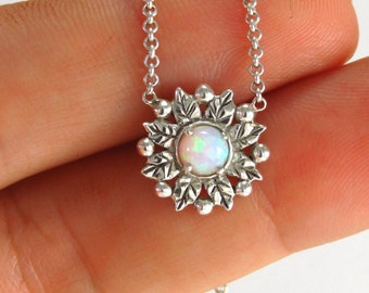 opal silver necklace, silver flower Necklace, white opal, silver opal jewelry, opal pendant ,white opal necklace, opal jewelry,
