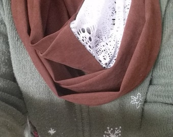 Fabric and Lace Infinity Scarf