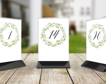 Printable Wedding Table Number Signs, Set of 20, DIY Table Numbers - 1 to 20 Spring Green Wreath