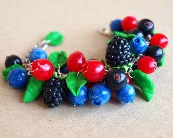Handmade Summer Berry Bracelet Polymer Clay