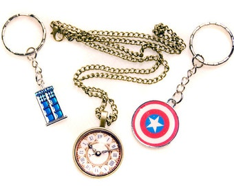 Necklace and Keychains for Steampunk, Doctor Who and Captain America