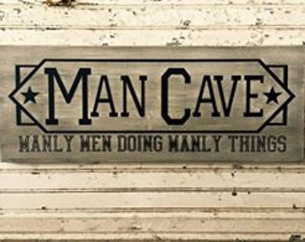 "Custom painted 9""x24"" ""Man Cave"" Wooden Sign"