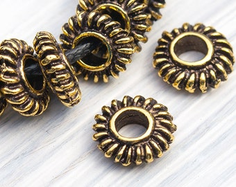 Hellenic Spacer Beads, Large Hole Beads, Antique Gold, Metal Casting, Mykonos Greek, 9mm, 10 Pc - MK107