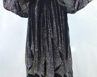 Divine Vintage 70's Deco Sheer Black Silver Glitter Layered Dress