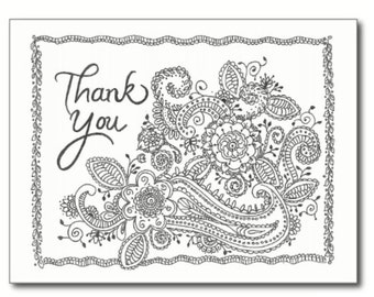 Henna Style Thank You Card, hand drawn card, greeting card, illustrated note card, stationary, thank you note