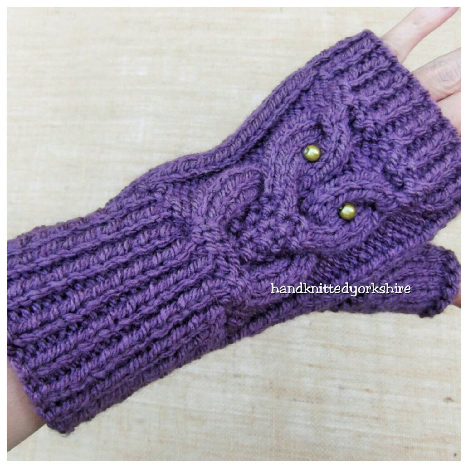 Hand Knitted Ladies Fingerless Gloves Owl Cable Design in