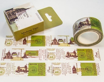 Washi masking tape / London & Paris / DIY Filofaxing scrapbooking Aufkeber