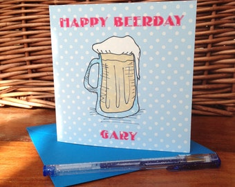 Personalised Birthday Card - Happy BEERDay