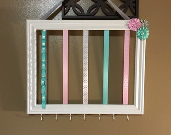 Pink/ Gray/ and Turquoise Bow & Headband Holder