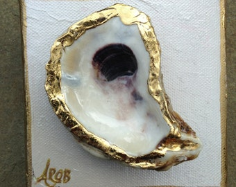 Oyster Shell on Canvas Acrylic Paint canvas Gold Leaf Oyster Shell