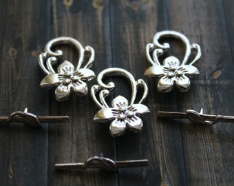 Silver Toggle Clasp - Silver Decorative Clasp - Hibiscus Flower Toggle Clasp