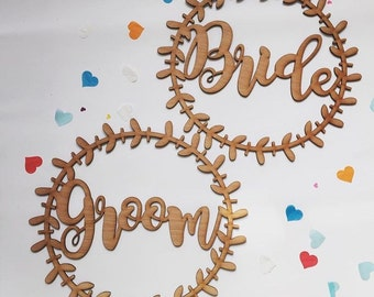 Contemporary Wooden Bride & Groom Chair Signs
