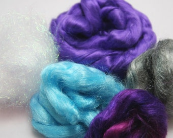 "Dauntless Fiber Add Ins Pack - Batt Blending, Spinning, Art Yarn - Bamboo, Firestar, Angelina ""Royals"""