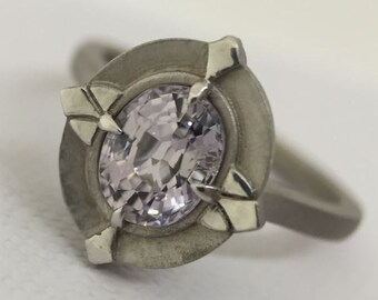 1.55ct Silver Spinel Aurore Halo Ring