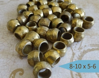 Rustic Large Hole Brass Beads | Big Hole Brass Beads – Brass Spacers Large Holes – Handmade Brass Beads – Brass Spacers Hand Crafted