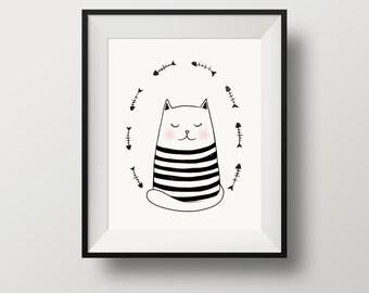 cat print, cat wall art, wall art cat, cats art, cat print black and white, nursery, wall art, nursery wall art, nursery decor