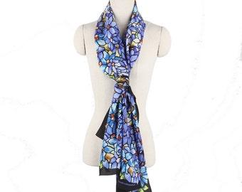 Vintage Louis C. Tiffany Iris pattern printed Silk Scarf long scarf oblong scarf