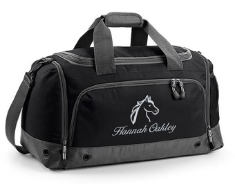Personalised Horse Riding Holdall Bag with Embroidered Horse Logo