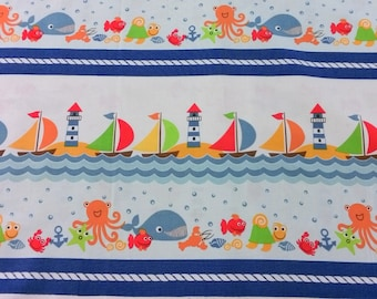 Benartex, 4122 09, border child sailboats and fish