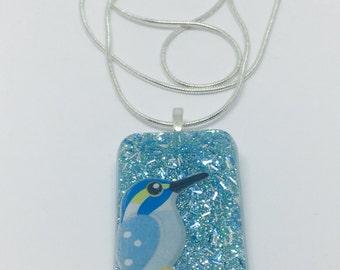 Kingfisher Blue Bird Necklace, Resin Jewelry