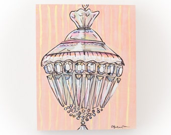 one of a kind original painting of a pink chandelier