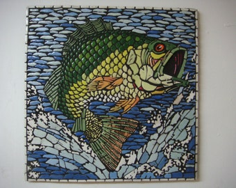Leaping Fish mosaic picture handcrafted Trout design