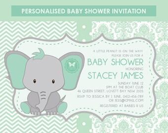 Printable Elephant Baby Shower Invitation, Elephant Invitation, Baby Shower, Printable Invitation, DIY Invitation, Baby Shower Invitation