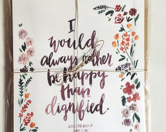 Happy Watercolor Quote Print Jane Eyre, Charlotte Bronte, Floral Nursery Print 8x10