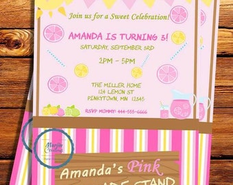 Pink Lemonade Party Invitation- Can be customized for any occasion