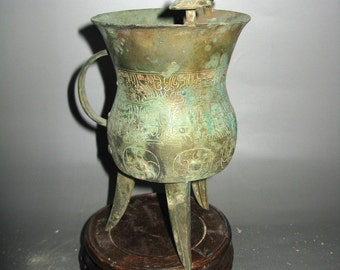 Chinese Antique Peculiar Bronze Wine Vessel With inscription Free Ship TB505