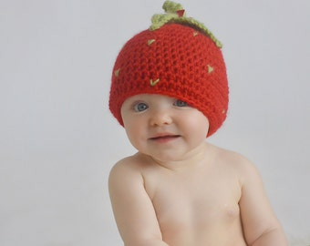 Strawberry Hat, Photography Prop, Crochet Hat, Newborns, Red, Green, Summer Prop