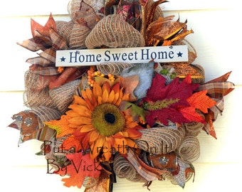 Fall Natural and Orange Metalic  Sunflower Wreath 15 inches