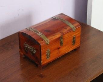Vintage cedar jewelry box
