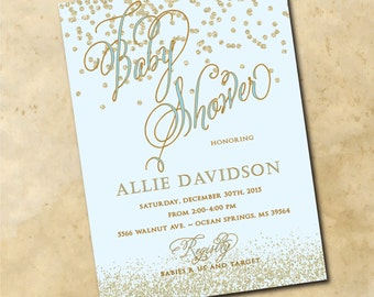 Baby BOY Shower Invitation printable/gold, confetti, glitter, blue, any color, calligraphy/Digital File/wording and colors can be changed