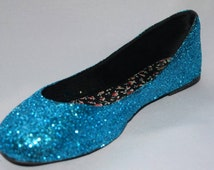 Women's and Girls Blue Glitter Flats Any Size Any Color Elsa Frozen Costume Acessory