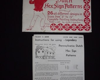 Vintage Legendary Pennsylvania Dutch Hex Sign Patterns 1964 & Hexology 1964 NEW