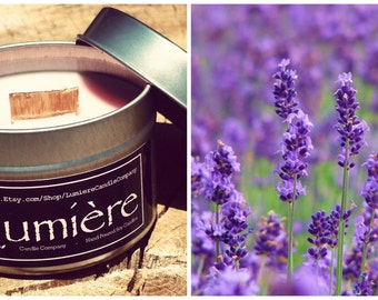 LAVENDER FLOWERS scent! - Wood or Traditional Wick Soy Candle - Lumière Candle Company - Travel Tin