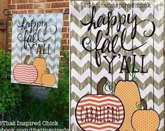 Happy Fall Yall Garden Flag | Fall Decor | Front Yard Decor | Garden Decorations | Chevron Pumpkins | Front Door Decor | Happy Fall Y'all