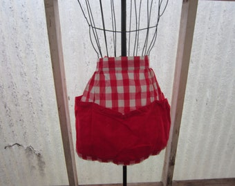 Red Gingham Half Apron Homemade Pocket Kitchen Apparel Accessory Linens - Kit0112