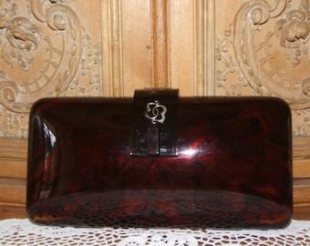 "Gorgeous Bakelite Purse/Amazing Antique c.1930s Marbled Brown Bakelite with Monogram ""EB"" Purse/Rare Genuine Tortoiseshell Clutch Purse Bag"