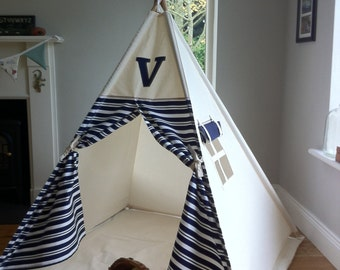 Teepee with monogram / wigwam / tipi play tent with option for hardwood poles