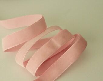 5/8 inch  Pearl Pink Velveteen Ribbon / Pink Velvet /   VRYM58-123