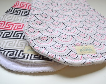 Baby Burp Cloths, Set of Two, Geometric,Pink, Black,Dots, Super Absorbent Burp Cloths, Baby Shower Gift, Baby Girl,