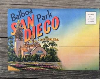 Vintage Balboa Park San Diego Postcard, San Diego Postcard, Fold Out Postcard ,  San Diego Memorabilia