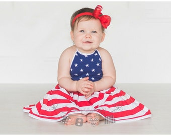Red, White and Blue,4th if July Dress, Fourth of July,American Flag Dress,Sizes 6 Months to 10 in Children's Girls Baby dress, Summer Dress