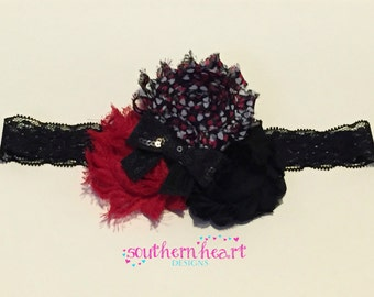 3 Shabby Flower Headband, Baby Headband, Red & Black Headband