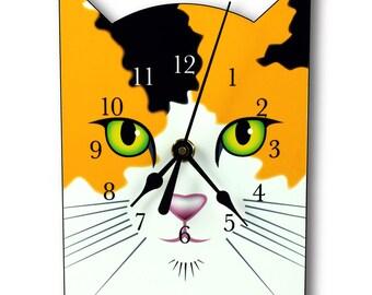 Calico Cat Clock, wall clock or table clock