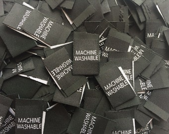 Woven Black Machine Washable Care Labels Clothing Garment Accessories Labels Cut and Folded